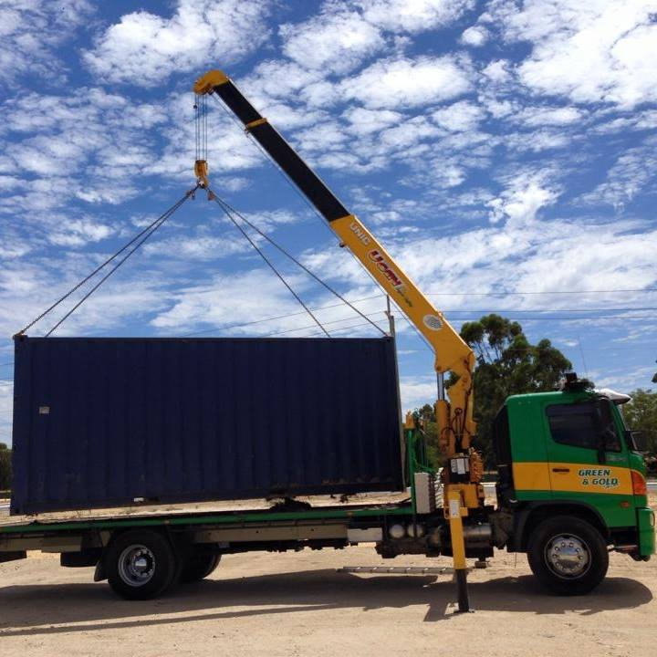 green-and-gold-hiab-moving-shipping-container - Green and